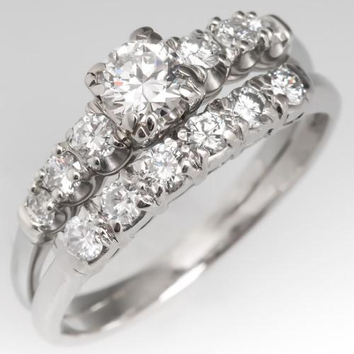 1950's Granat Bros Fused Diamond Bridal Wedding Ring Set