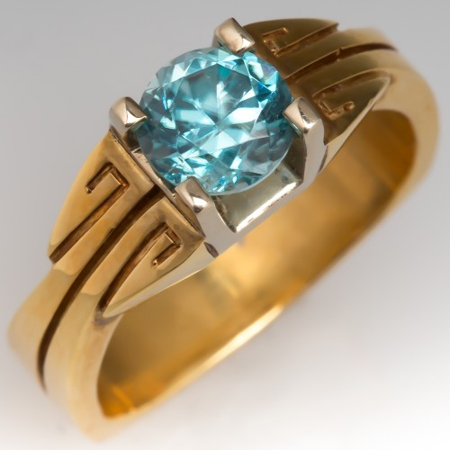 Natural Blue Zircon Gemstone Ring 18K Gold Euro Shank