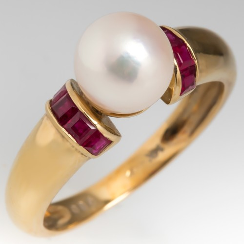 7mm Cultured Pearl & Ruby Ring 14K Gold