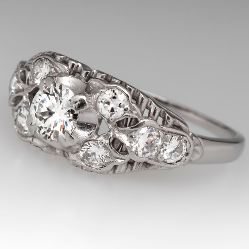 Vintage Filigree Engagement Ring Platinum Transitional Cut Diamond 1940's