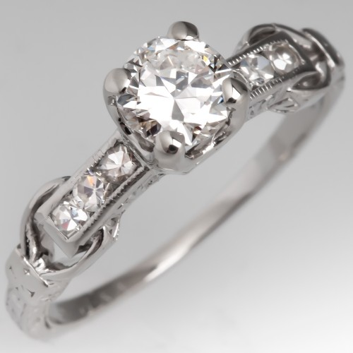 Antique Old European Cut Diamond Engagement Ring Platinum 1930's