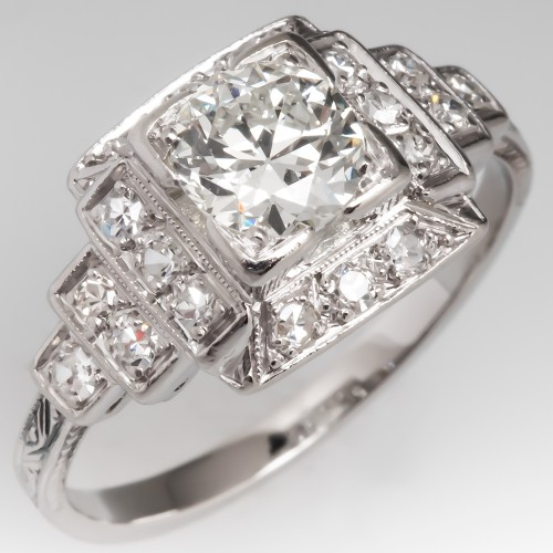 Stunning Art Deco Engagement Ring Old Euro Diamond Platinum