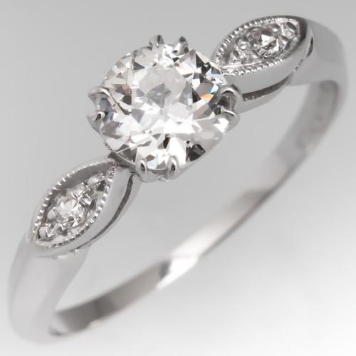 Old European Cut Diamond Engagement Ring Platinum 1920's Antique