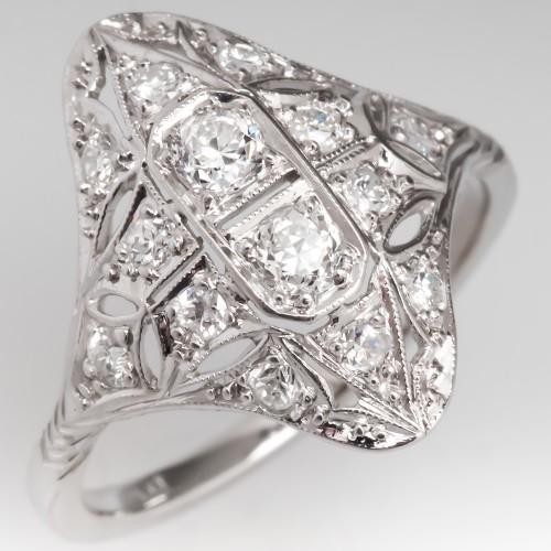 Vintage Old European Cut Diamond Dinner Ring Platinum