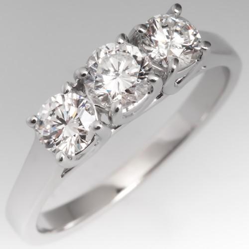 Modern Three Stone Diamond Engagement Ring 14K White Gold