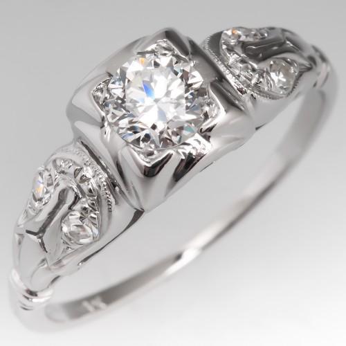 Petite Low Profile Vintage Engagement Ring 18K White Gold