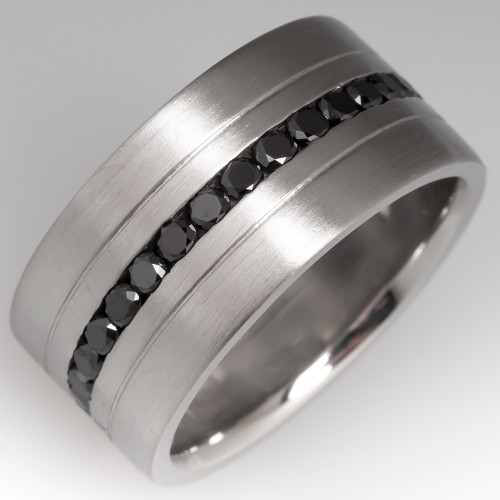 Mens Black Diamond Wide Band Platinum Ring Satin Finish Size 10