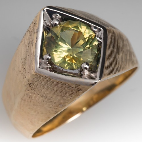 Vintage Mens Greenish Yellow Natural Sapphire Ring 14K Gold