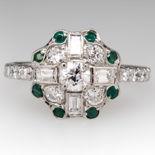 Old European Cut Diamond Engagement Ring w/ Emerald Accents