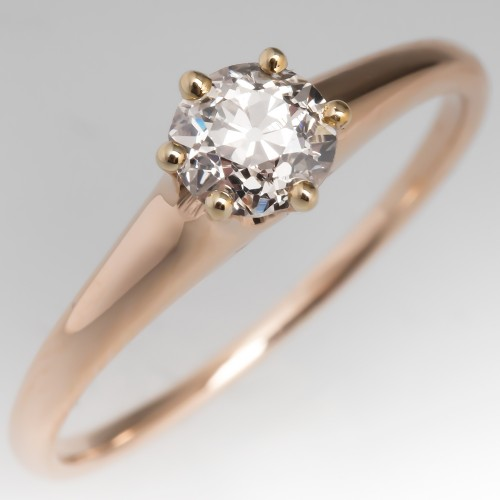 Victorian Solitaire Engagement Ring 1/2 Carat Old Euro Diamond 14K