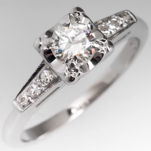 Vintage 14K White Gold Transitional Cut Diamond Engagement Ring