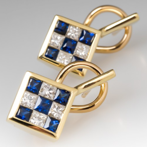 Sapphire Diamond Estate Drop Earrings 18K Yellow Gold