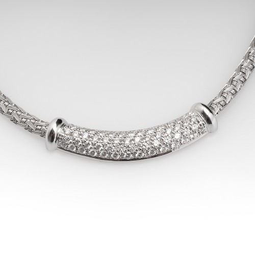 Roberto Coin Woven Silk Diamond Necklace 18K White Gold 16-Inch