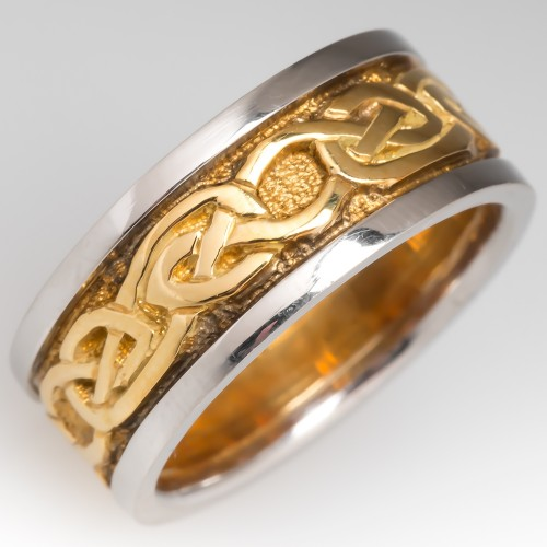 Platinum & 18K Gold Celtic Band Ring 8mm Size 6.5