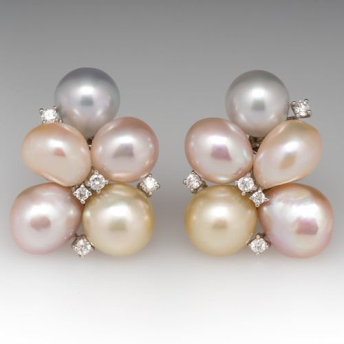 Large Pearl & Diamond Vintage Cluster Earrings 18K White Gold
