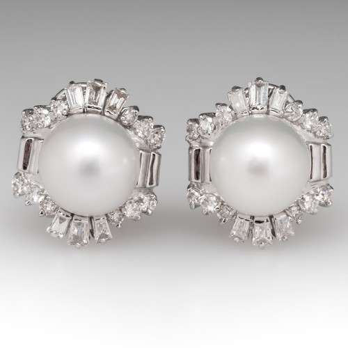 Retro Vintage Pearl & Diamond Earrings 18K White Gold