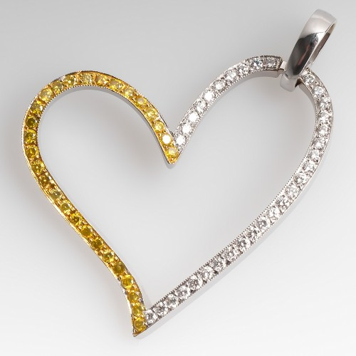 Large Heart Pendant w/ White & Yellow Diamonds 18K