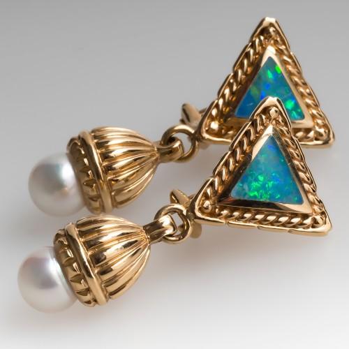 Detailed Opal & Pearl Drop Dangle Earrings 14K Yellow Gold