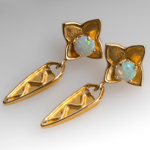 Opal Cabochon Stud Earrings with Dangle Jackets 14K Gold