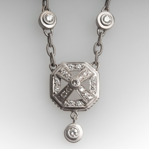 Doris Panos Diamond Necklace 18K White Gold 17-Inch