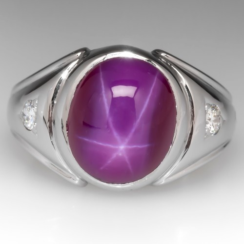 Vintage Mens Created Star Ruby & Diamond Ring 14K White Gold