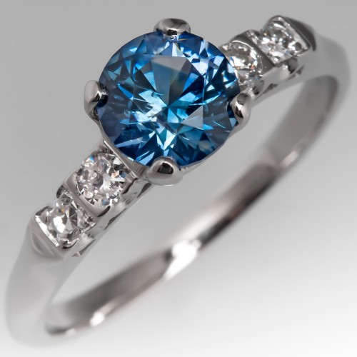 Montana Sapphire Engagement Ring 1960's Vintage Platinum Mount