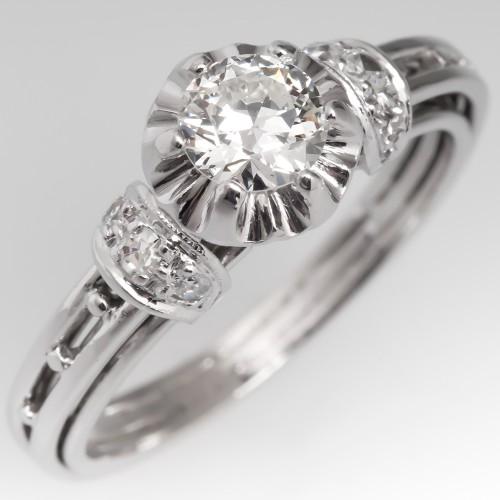 Unique Vintage Round Brilliant Diamond Platinum Engagement Ring