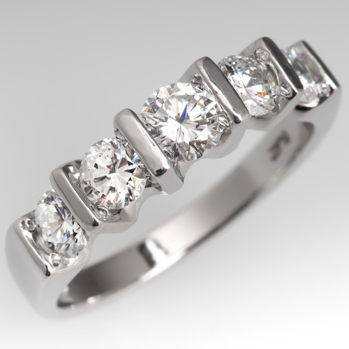 Five Stone VS Diamond Platinum Anniversary Ring 1 Full Carat
