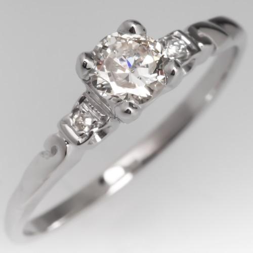.46CT Vintage Diamond Engagement Ring 10K White Gold