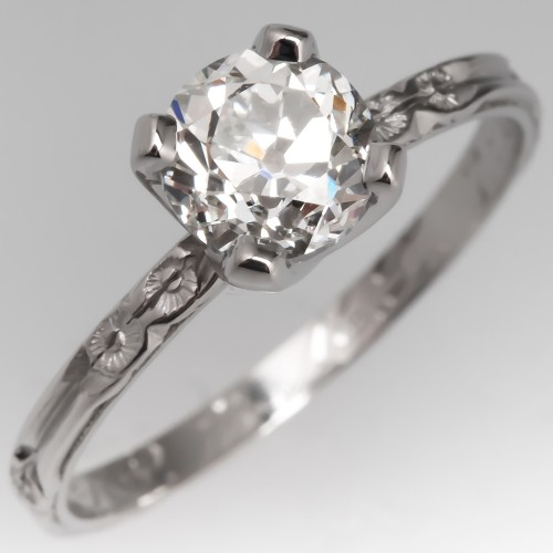 Old Euro Diamond Engagement Ring Antique Wedding Band Engraved 1941