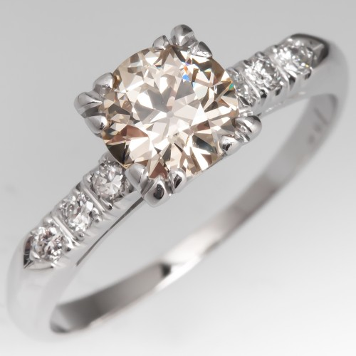 Warm M/VS1 Vintage Old European Cut Diamond Engagement Ring 14K