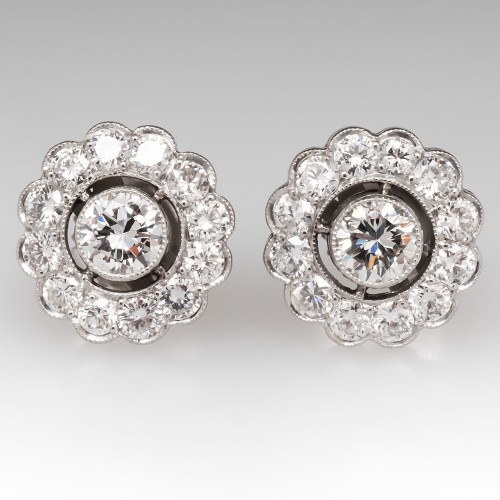 Vintage Floral Diamond Halo Stud Earrings in Platinum w/ Milgrain Details