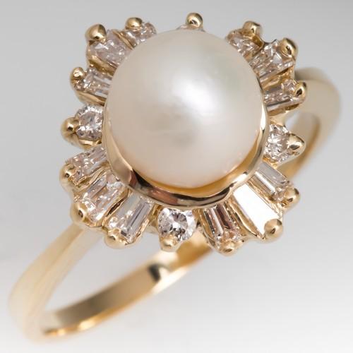 Vintage Saltwater Pearl & Diamond Cocktail Ring 18K Gold