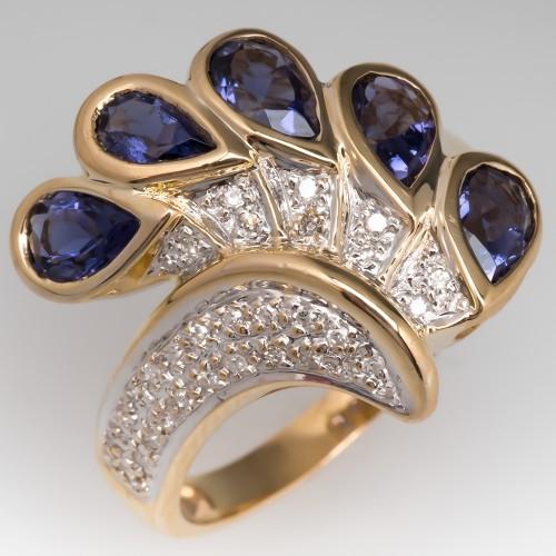 Laura Ramsey Iolite & Diamond Ring 14K Gold