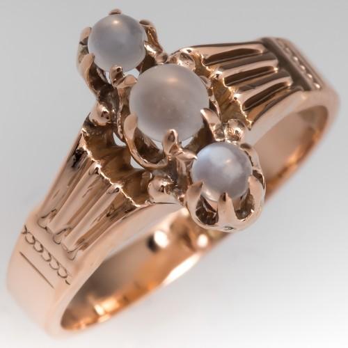 Antique Victorian Era Moonstone Ring 10K Gold