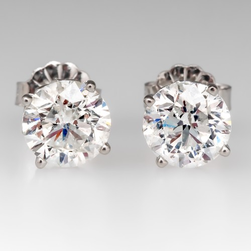 2 Carats Total Round Brilliant Diamond 4-Prong Stud Earrings