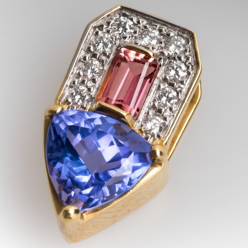 Tanzanite Slide Pendant w/ Diamonds & Pink Tourmaline 18K Gold