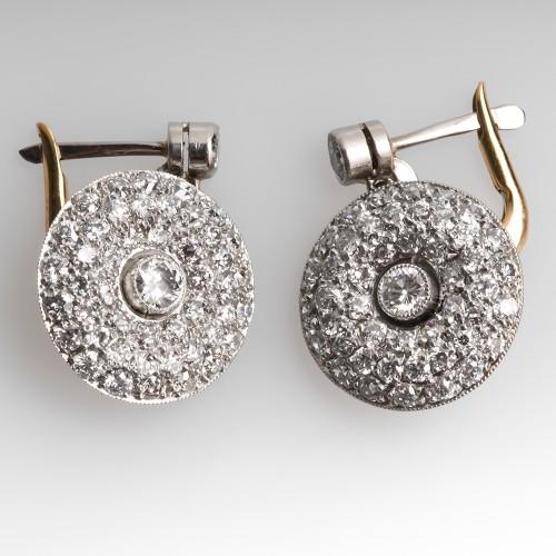 Vintage Diamond Cluster Drop Earrings 18K Gold & Platinum