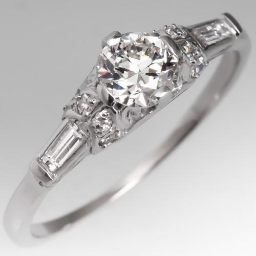 Lovely Vintage Transitional Cut Diamond Engagement Ring Platinum