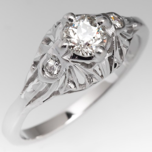 1920's Antique Filigree Old European Cut Diamond Engagement Ring 18k White Gold