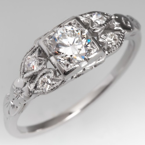 1950's Vintage Diamond Engagement Ring 18K White Gold