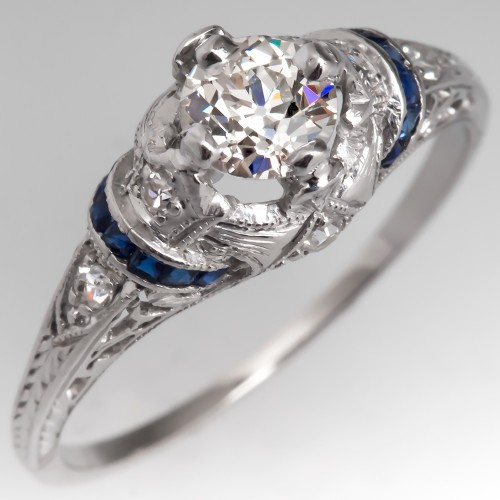 1930's Antique Diamond Engagement Ring w/ Sapphire Accents Platinum