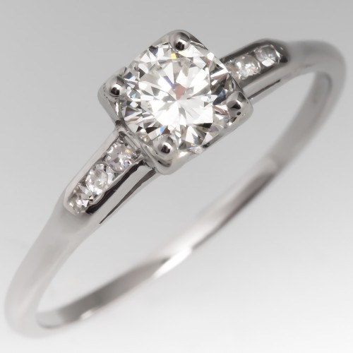 Pretty Platinum Vintage Diamond Engagement Ring
