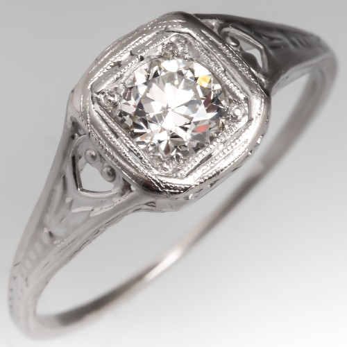 Late 1930's Antique Transitional Cut Diamond Filigree Ring Platinum