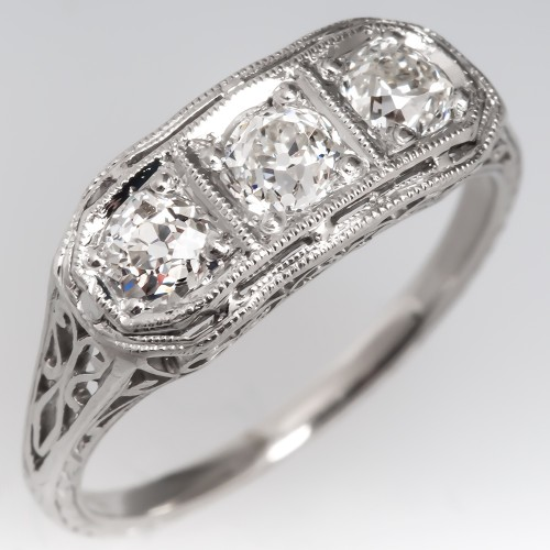1930's Platinum Filigree Three Stone Diamond Engagement Ring
