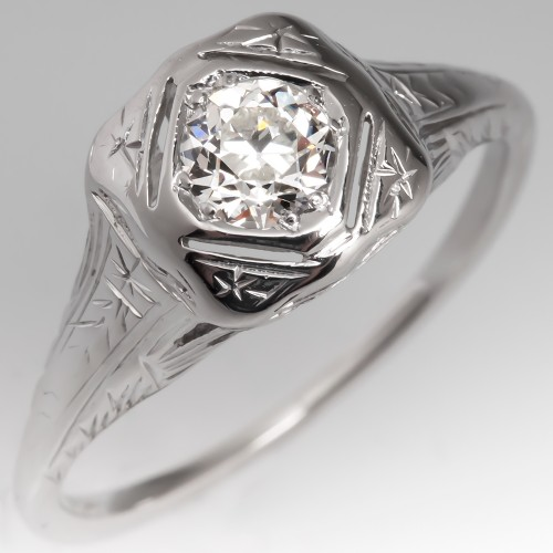 1930's Filigree Old European Cut Diamond Solitaire Ring 14k White Gold