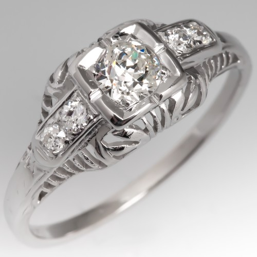 Old Euro Diamond Vintage Filigree Engagement Ring 10K
