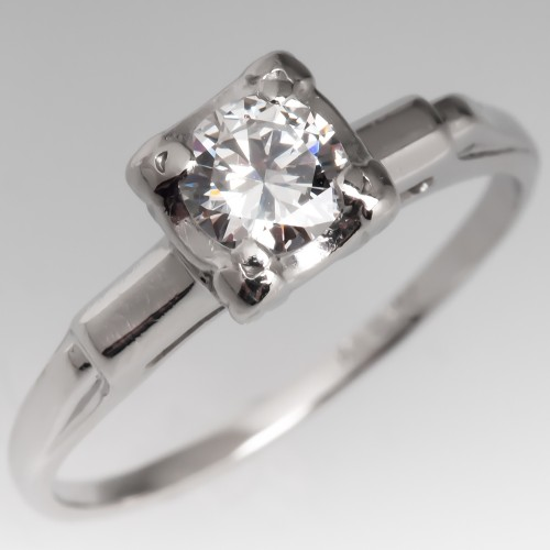 Vintage Round Brilliant Diamond Engagement Ring Platinum .32CT F/VVS2