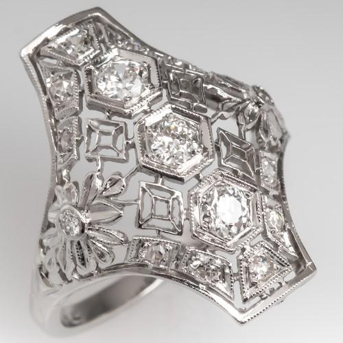 Vintage Diamond North to South Dinner Ring Filigree Platinum