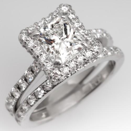 Gorgeous Diamond Halo Engagement Ring Wedding Set Platinum